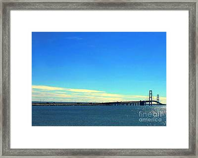 Blue Meets Blue Framed Print by Lin Haring