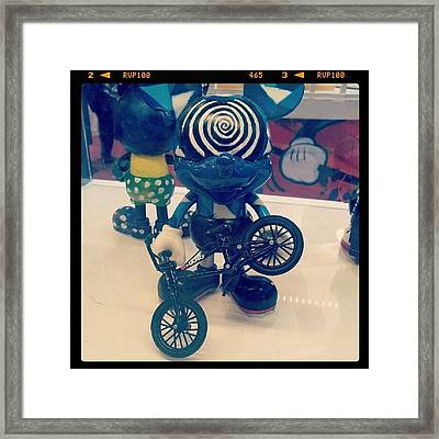 #blue #mickey #mouse #swirl #bicycle Framed Print