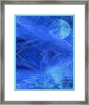 Blue Moon Healing In Blue Framed Print by Ray Tapajna