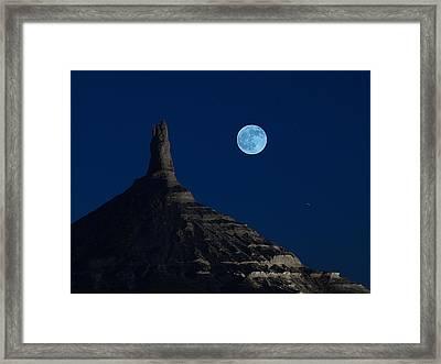 Blue Moon Over Chimney Rock Framed Print