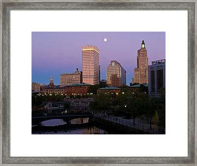 Framed Print featuring the photograph Blue Moon Over Downtown Providence 2 by Nancy De Flon