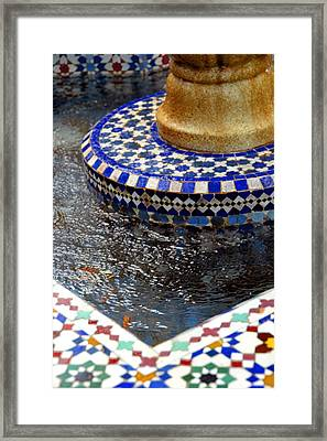 Blue Mosaic Fountain II Framed Print by Bonnie Myszka