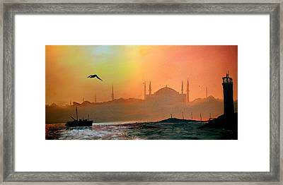Blue Mosque At Sunset Framed Print by Rafay Zafer