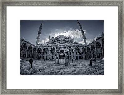 Blue Mosque Courtyard Framed Print by Joan Carroll