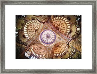Blue Mosque Domed Ceiling Framed Print by Artur Bogacki