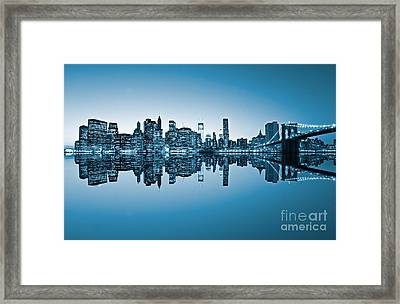 Framed Print featuring the photograph Blue New York City by Luciano Mortula