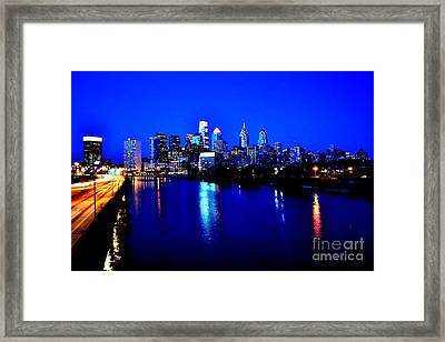 Blue Night Philadelphia  Framed Print by Bener Kavukcuoglu