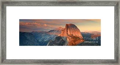 Blue Orange Sunset Half Dome Yosemite Panoramic  Framed Print by Nature Scapes Fine Art