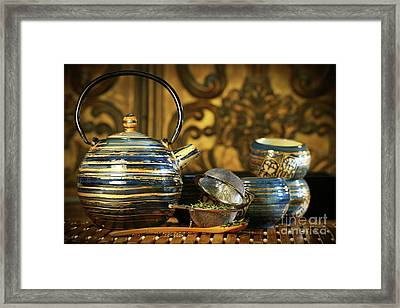 Blue Oriental Teapot With Cups  Framed Print by Sandra Cunningham