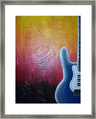 Framed Print featuring the painting Blue Over Fire by Edwin Alverio