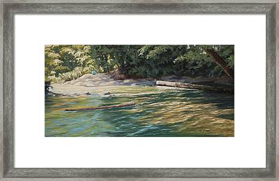 Blue Parasol At Whatcom Falls Framed Print by Kurt Jacobson