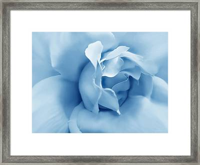 Blue Pastel Rose Flower Framed Print by Jennie Marie Schell