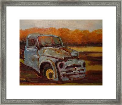 Framed Print featuring the painting Blue Pickup by Carol Berning