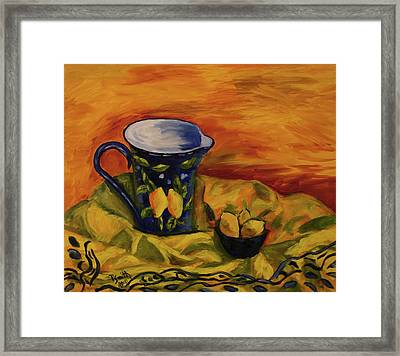 Blue Pitcher With Lemons Framed Print by Phyllis  Smith