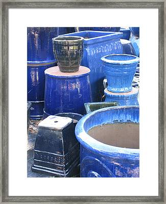 Framed Print featuring the photograph Blue Pots by Brian Sereda