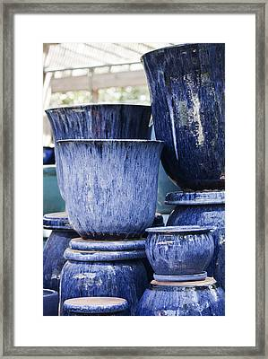 Blue Pots For Sale Framed Print by Teresa Mucha