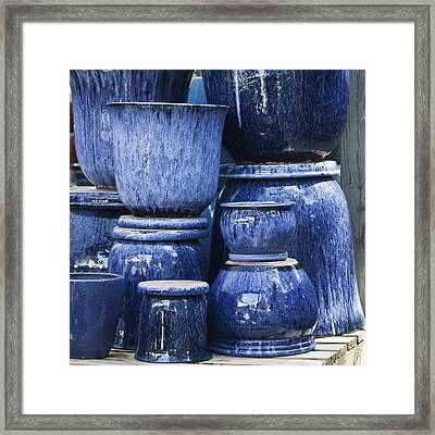 Blue Pots Squared Framed Print by Teresa Mucha