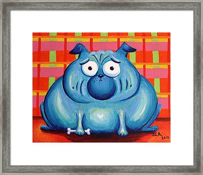 Blue Pudgy Pug Framed Print by Jennifer Alvarez