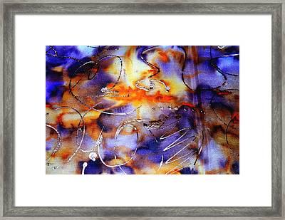 Blue Purple Orange Yellow And Silver  Framed Print by Alexandra Jordankova