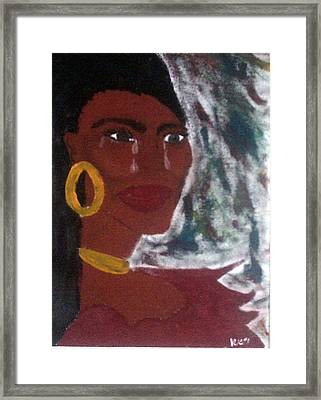 Blue Red Woman Framed Print by Violette Meier