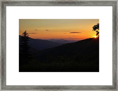 Blue Ridge Mountain Sunset Framed Print by Jeff Moose