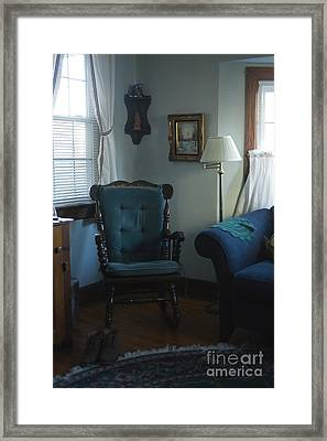 Blue Rocking Chair Framed Print
