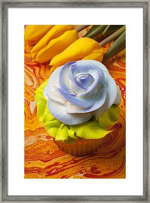 Blue Rose Cup Cake Framed Print by Garry Gay