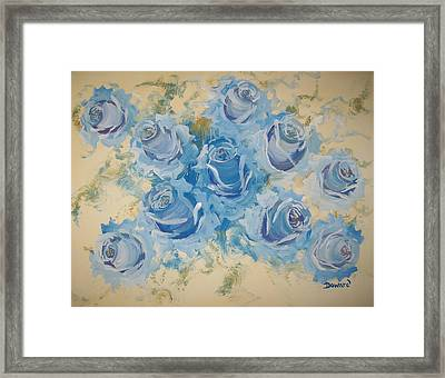 Blue Roses Abstract Framed Print