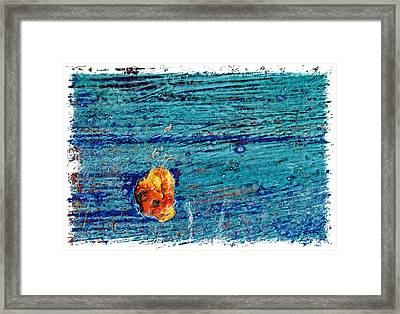 Blue Rusted Steel Painted Background Framed Print