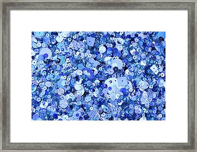 Blue Sequins Of Various Shapes And Sizes Framed Print by Andrew Paterson