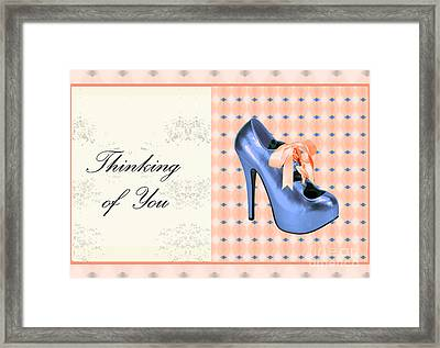 Blue Shoe On Pink Greeting Card Expresses Thinking Of You Framed Print