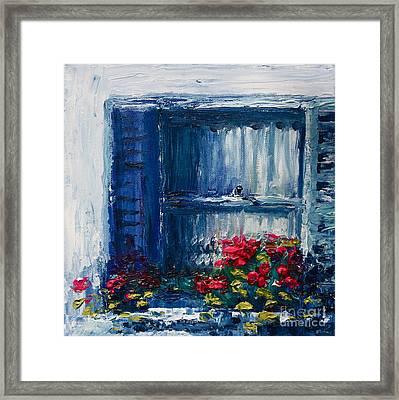 Blue Shutters Framed Print by Yvonne Ayoub