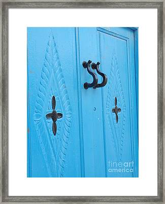 Blue Sidi Bou Said Tunisia Door Framed Print