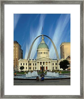 Blue Skies Over St. Louis Framed Print by Marty Koch