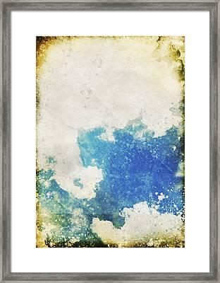 Blue Sky And Cloud On Old Grunge Paper Framed Print by Setsiri Silapasuwanchai