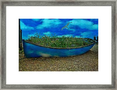 Framed Print featuring the photograph Blue Sky Boat  by Chris Lord