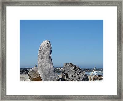 Blue Sky Coastal Landscape Driftwood Rock Pier Framed Print by Baslee Troutman