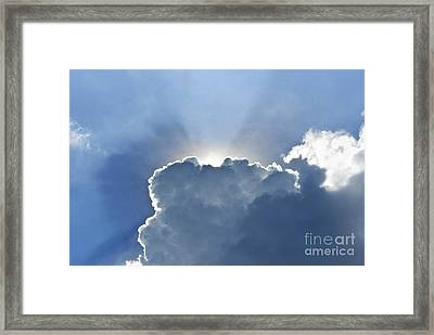Blue Sky With Sun And Beautiful Clouds Framed Print by Jeng Suntorn niamwhan