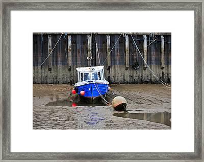 Blue Small Boat Framed Print by Svetlana Sewell