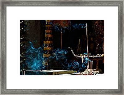 Blue Smoke Framed Print by Arj Munoz