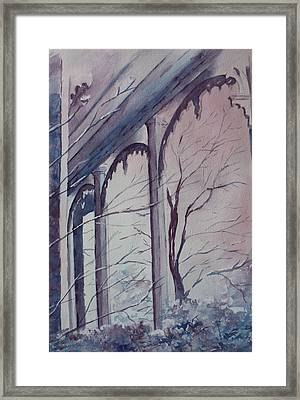 Framed Print featuring the painting Blue Snow by Patsy Sharpe