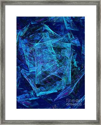 Blue Space Debris Framed Print by Andee Design