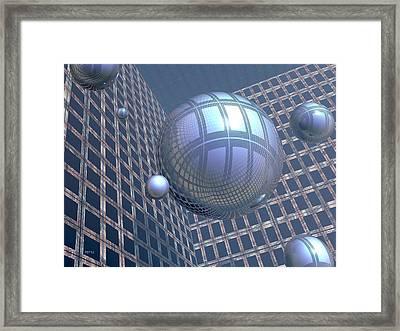 Blue Spheres Framed In Space Framed Print