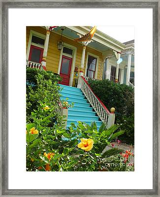 Framed Print featuring the photograph Blue Stairs Yellow House by Jeanne  Woods