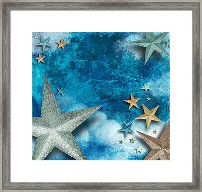 Blue Star Art Holiday Background Framed Print by Angela Waye