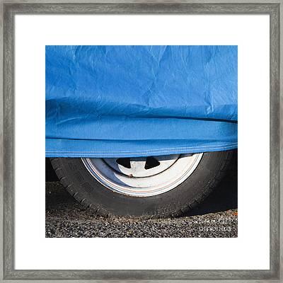 Blue Tarp And Car Wheel Framed Print by Paul Edmondson