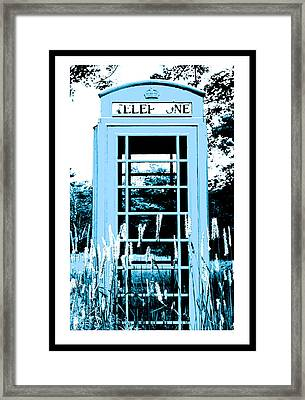 Blue Telephone Booth In A Field In Maine Framed Print