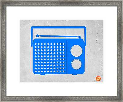 Blue Transistor Radio Framed Print by Naxart Studio