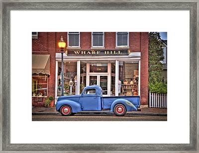 Blue Truck On Main Street Framed Print