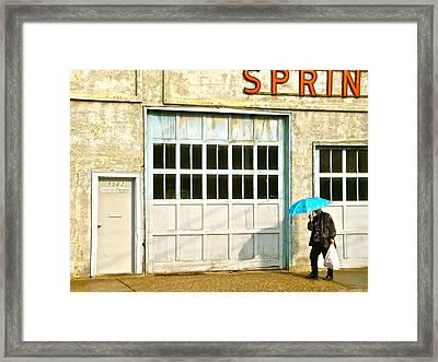 Framed Print featuring the photograph Blue Umbrella by Brian Sereda